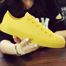 女性の加硫靴女性のキャンバスシューズファッションスニーカー黒、白、黄色のカジュアルシューズ女性のフラットプラスサイズ 35  46