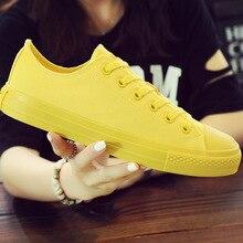 Kadınlar vulkanize ayakkabı Kadın kanvas ayakkabılar Moda Ayakkabı Siyah Beyaz Sarı rahat ayakkabılar kadın Flats Artı Boyutu 35 46