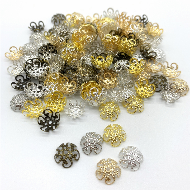 100pcs/Lot 10mm Flower Torus Shape Alloy Beads Caps Jewelry Findings Spacer Beads For