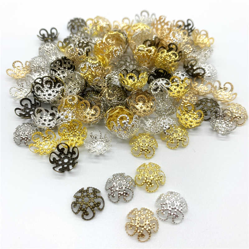 100pcs/Lot 10mm Flower Torus Shape Alloy Beads Caps Jewelry Findings Spacer Beads For Jewelry Making Charms Necklace Bracelets
