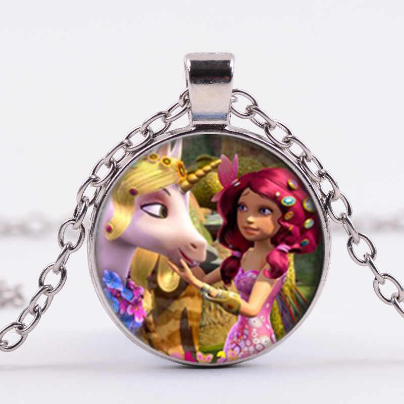 Sian Fashion Anime Mia dan Saya Kalung Pegasus Peri Dicetak Waktu Permata Kalung untuk Anak Perempuan Anak-anak Perhiasan Tema Pesta Hadiah pernak-pernik