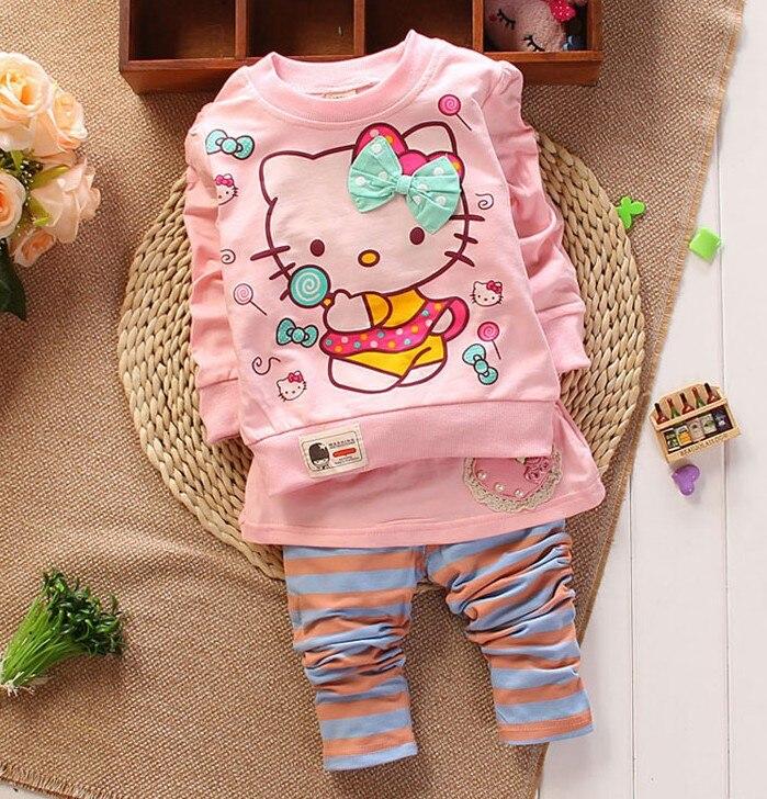 Nuevo 2014 otoño bebé fija niñas ropa camisa de manga larga y pantalones del cab