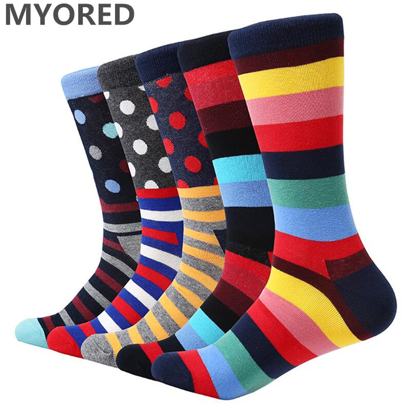 MYORED 5 pair/lot mens colorful socks cotton multi-color bright stripes & dot funny long socks for men dress wedding gift socks