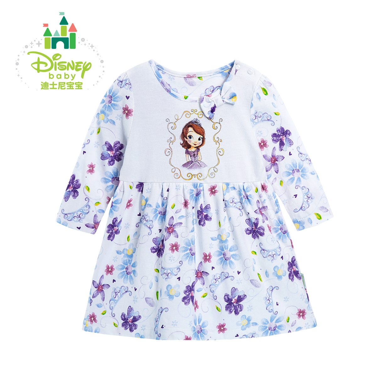 Disney Baby Girls Dress Spring Long Sleeve Bow Baby Party Birthday Girls Kids Children Cotton Wedding Princess Dress db4368 davebella spring new girls cotton floral dress princess dress children boutique dress sakura dress