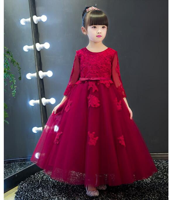 Girls Pageant Long Formal Dresses 2017 Long Sleeve Gauze Gowns Lace Girls Princess Tutu Dress Christmas Kids Wedding Party Dress girls pageant long formal dresses 2017 sleeveless gauze gowns lace flowers girls tutu dress bow kids wedding party dresses 1 9y