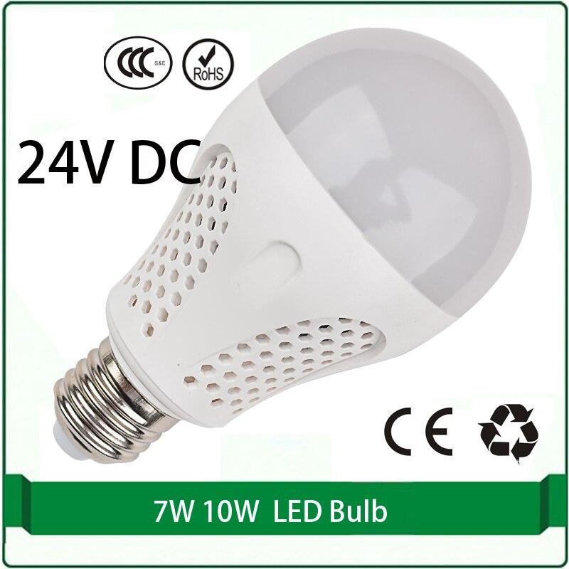 24 volts dc led ampoules 7 W 10 W ampoule solaire panneau ampoule 24 volts led lampe led 24 v e27 e26 B22 lampada
