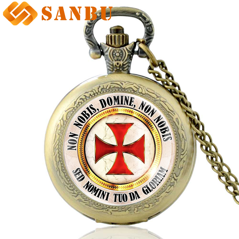 Vintage Black Cross Quartz Pocket Watch Classic Men Knight Templar Necklace Jewelry