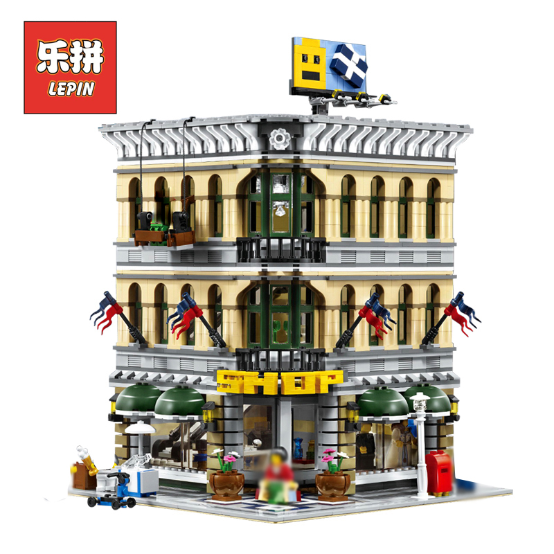 цены LEPIN 15005 Street View Series City Grand Emporium Set DIY Large Model Building Kits Blocks Bricks Children Toys Christmas Gift