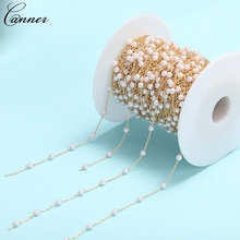 Rosary Chain Necklace Jewelry-Making Pearl Bracelet-Accessories Round Gold-Color