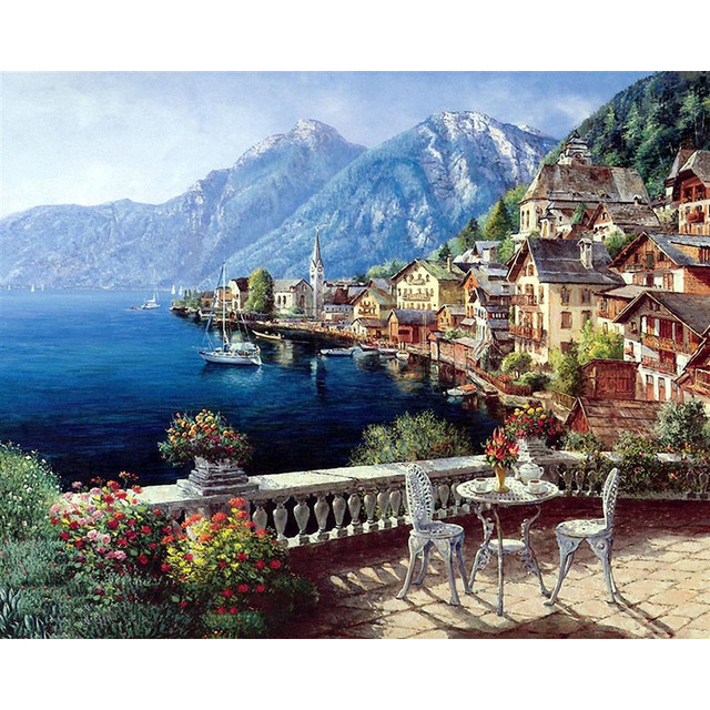 Frameless Seascape Oil Paintings By Numbers DIY Digital Pictures Coloring By Number On Canvas Unique Gifts Home Decoration 40×50