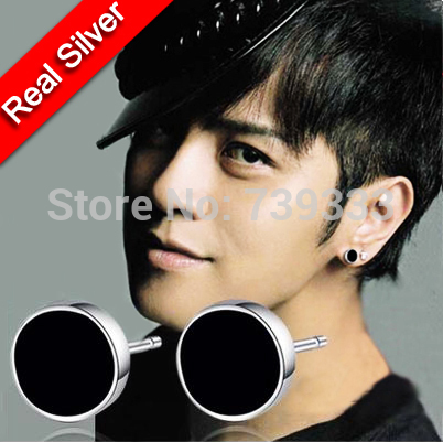 Real 925 Sterling Silver Earrings Korean Black For Men Stud Round Fashion Nature Agate Or Women In From Jewelry