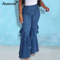 Abasona Ruffles Patchwork High Waist Denim Jeans Wide Leg Fashion Women Summer Vintage Street Wear Plus Size Stretch Long Pant