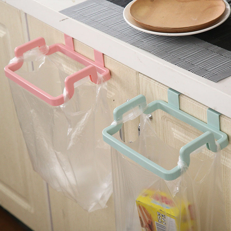 Cupboard Door Suspension Trash Rack Storage Garbage Bag Holder Hanging Kitchen Cabinets Storage Towel Shelf Holders