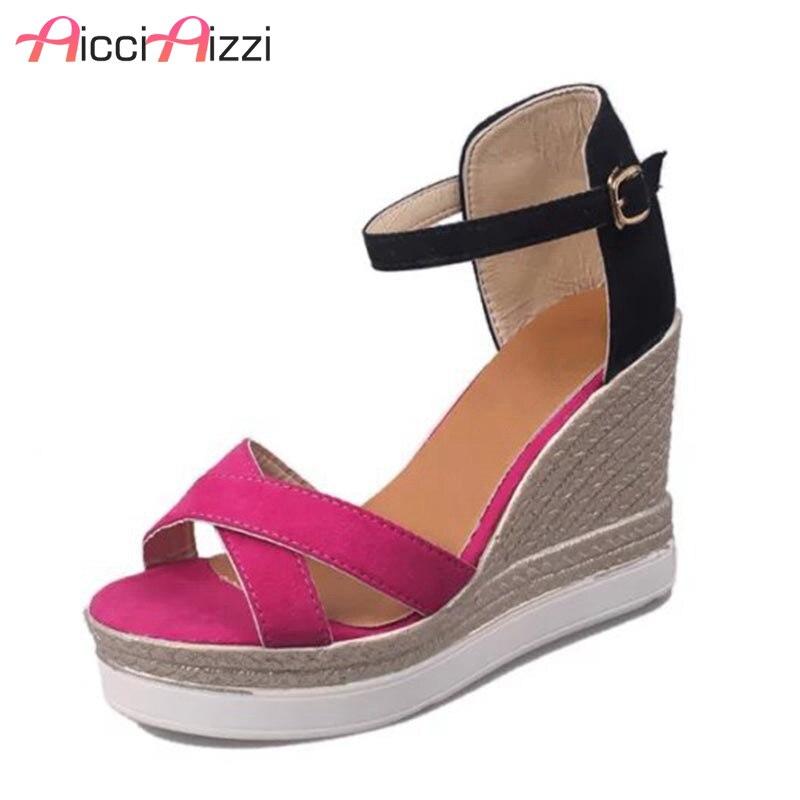 где купить AicciAizzi Size 33-45 Sexy Office Lady High Heel Sandals Ankle Strap Thin Heel Sandals Summer Party Shoes Women Sandals Footwear по лучшей цене