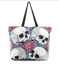2017 Japanese foreign trade wind skull digital printing shopping bag ladies handbag