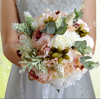 European Fashion Natural Artificial Flower Bouquet Countryside Robe De Mariage Bridal Hand Bouquet New Design
