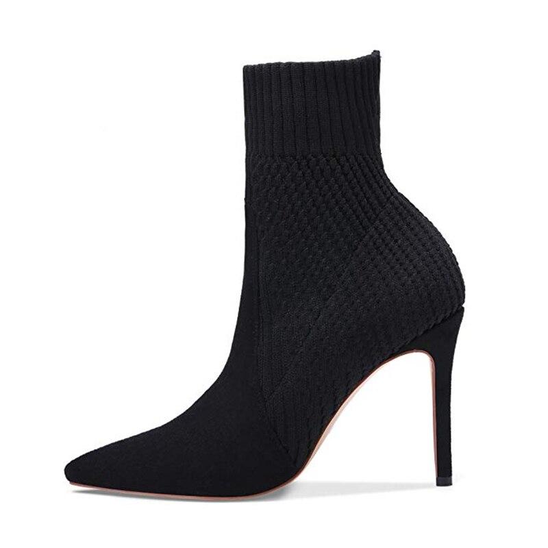 Bout Bottes Tricot Cheville Sexy Conception Plus Femmes Karinluna Marque Noir Femme Pointu Chaussures Taille 2019 Hauts De Talons Partie 43 6YPwU8q