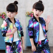 2018 Jacket for Girls Children Clothes Sets Kids Fashion Sports Suit Baby Girls Jacket Coat+Pants Children Girl Trend Tracksuit(China)