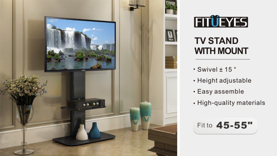 Fitueyes Tv Stand With Swivel Mount For Flat Screen Led Plasma Floor