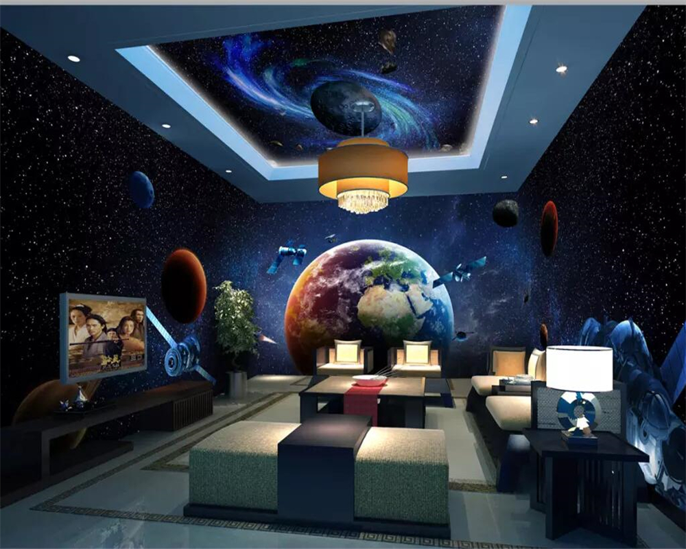 Beibehang Wallpaper Alam Semesta Galaxy Bumi 3D Tema Ruang Penuh Latar Belakang Rumah Dinding Kamar Anak