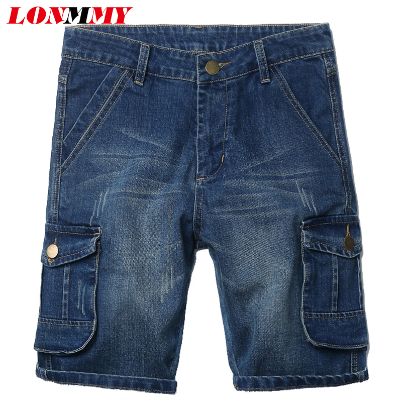 LONMMY 30-40 Denim overalls men beach Casual Multi-pocket Fashion Military shorts mens 2017 summer skinny jeans mens shorts