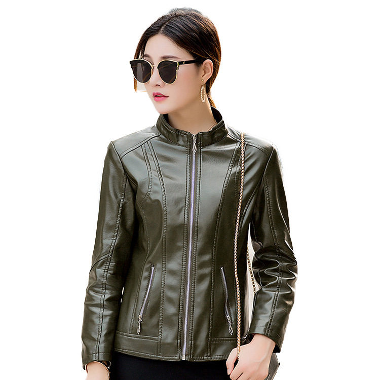 2018 Spring And Autumn New Middle aged Ladies Pu Leather Clothing Motorcycle Clothing Women's Short Collar Leather Jacket A0166