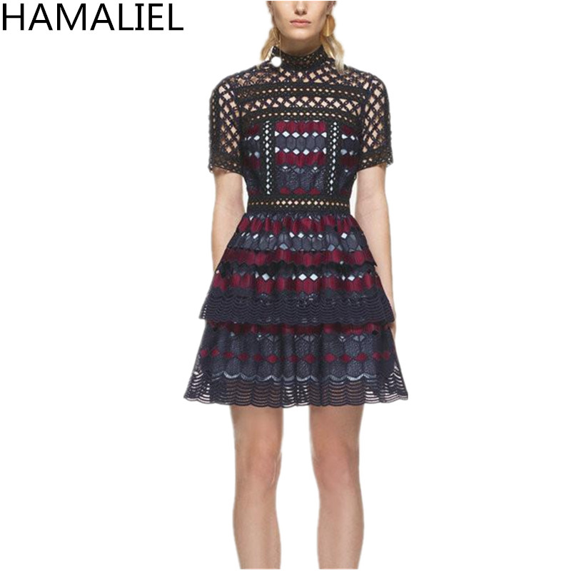 HAMALIEL Runway Self Portrait Dress 2018 Autumn Woemn Short Sleeve Lace Patchwork Hollow Out Female Stand Collar Party Dress