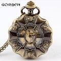 Retro Bronze Flower Quartz Pocket Watch Necklace Pendant Chain Antique Women Watches relogio de bolso