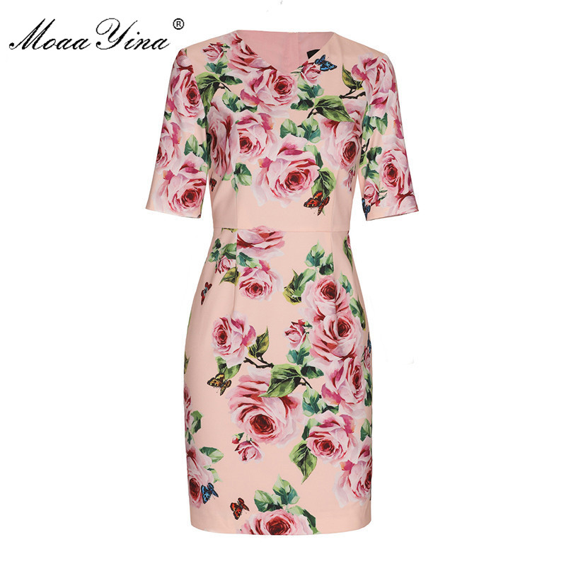MoaaYina 2018 Fashion Designer Runway Dress Summer Women Short sleeve V collar Rose Floral Print Casual Holiday Elegant Dress-in Dresses from Women's Clothing    1
