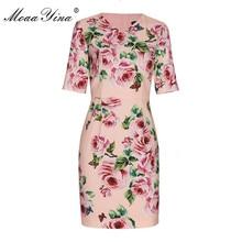MoaaYina 2018 Fashion Designer Runway Dress Summer Women Short sleeve V collar Rose Floral Print Casual Holiday Elegant