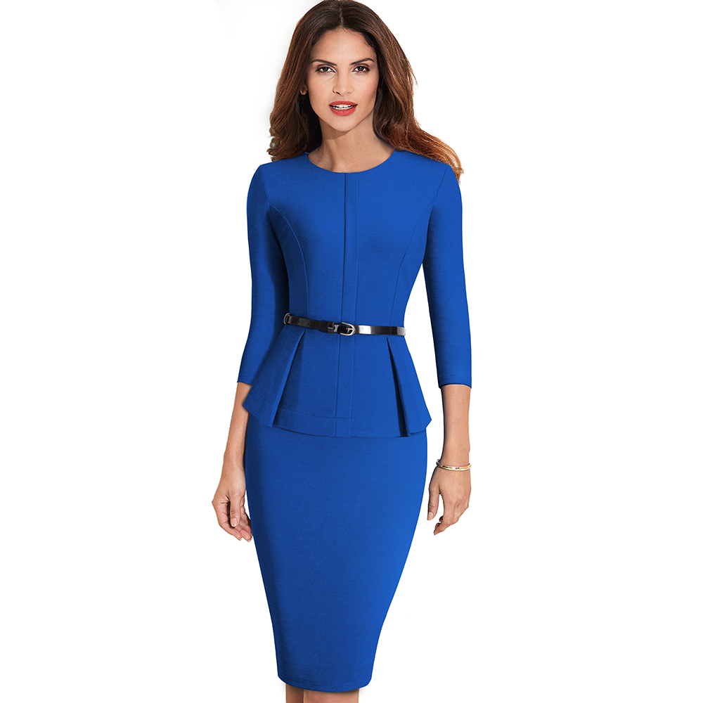 Nice-forever Vintage Elegant Wear to Work with Belt Peplum vestidos Business Party Bodycon Office Career Women Dress B473 4