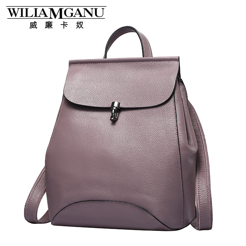 WILIAMGANU Genuine Leather backpack women Kanken School Bag teenage girls cover Casual backpacks Female Fashion Shoulder Bags sendefn genuine leather backpack large capacity rivet black shoulder bag women casual backpack teenage girls school travel bags