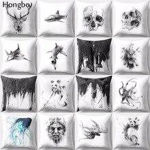 Hongbo 1 Pcs Deer Shark Bear Octopus Skull Print Pillow Case Cushion Cover Decorative Pillowcase for Home Sofa Car Office