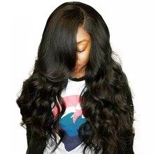 5x5 Кружева Закрытие парик объемной волны Синтетические волосы на кружеве человеческих волос парики для женский, черный 200% полный бразильский Синтетические волосы на кружеве al парик предварительно сорвал Remy