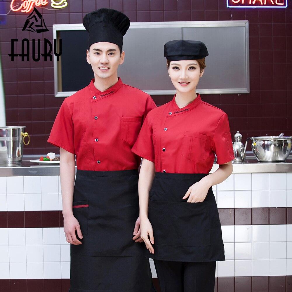 Unisex Oblique Collar Single Breasted Short Sleeve Restaurant Cafe Waiter Hotel Work Uniform Chef Breathable Cook Kitchen Jacket