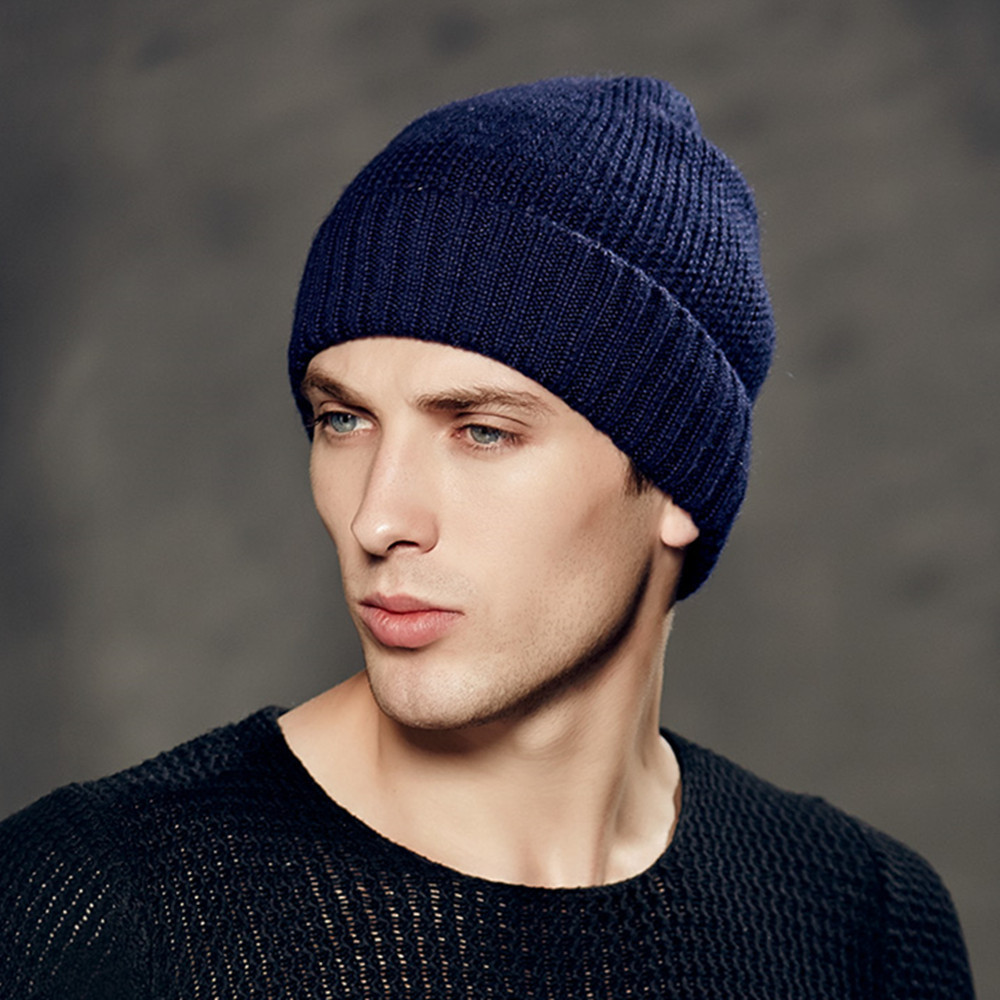 61e8318e5e7fa9 Kenmont Autumn Winter Unisex Men Wool Crochet Knit Solid Color Skull Cap  Beanie Hat Cuff Tam 1561-in Skullies & Beanies from Apparel Accessories on  ...