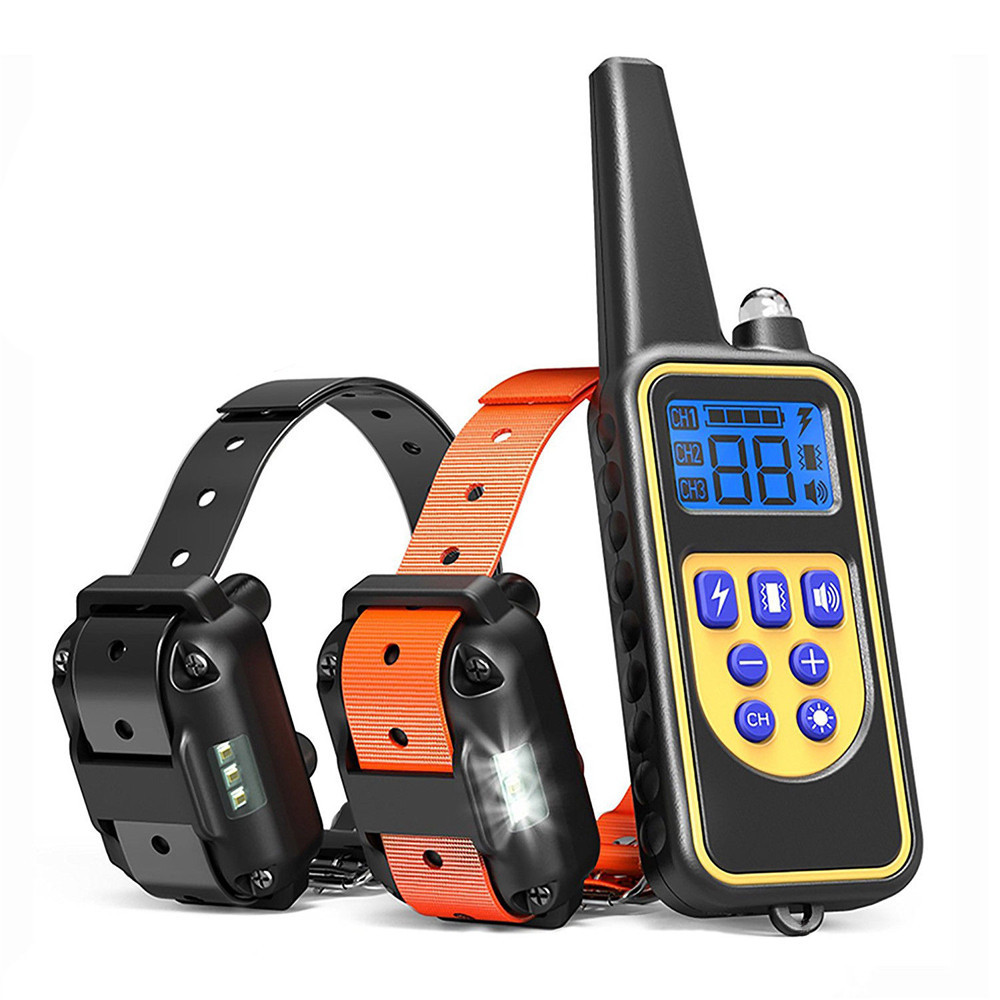 Electric Pet Dog Training Collar Shock Training Collar Electronic Remote Control Waterproof Rechargeable LCD Display