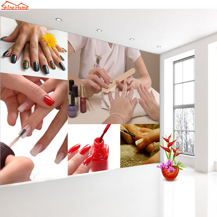 Shinehome-SPA Nail Foot Salon Art Cosmetic 3 d Wallpaper for Room 3d Wall Background Rolls Paper Roll Wallpapers Papel De Parede shinehome fashion spa nail salon beauty cosmetic 3d wallpaper wallpapers photo walls murals for 3 d background roll wall paper