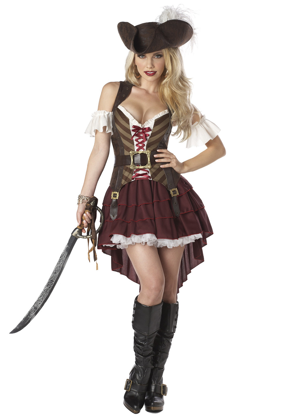2017 High Quality Deluxe Female Pirate Costome Halloween Women Caribbean Pirates Fancy Dress