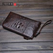 AETOO Mens hand bag crocodile pattern male leather shoulder business cowhide handbag Korean version of the tide package