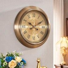 Metal European clocks wall clock living room home creative simple round large retro