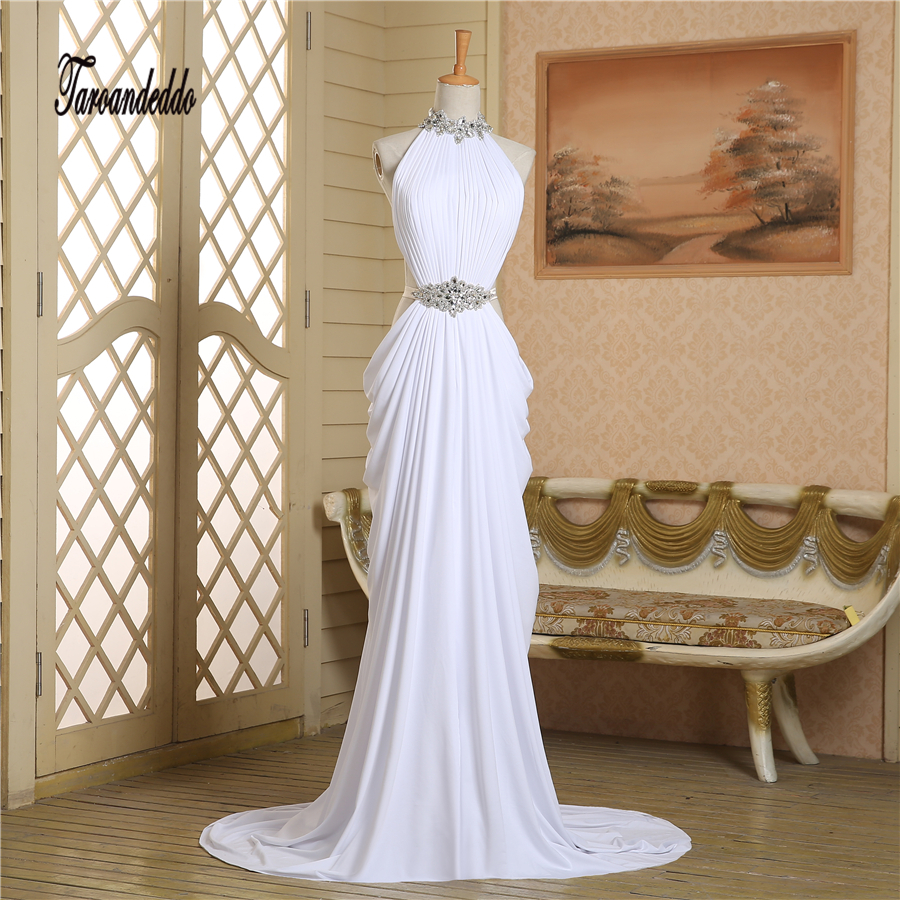 Halter Neckline Beading Sash Sheath Cutout Side White Chiffon Ruched Slit Prom Dress with Train Evening Dress Customized Made