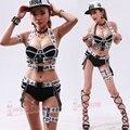 Женский костюм ночной клуб сексуальные мужчины и женщины DS костюм новый танец бар певица DJ этап набор хип-хоп повязку черно-белый певица