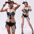 female costume nightclub sexy men and women DS costume new dance bar singer DJ stage set hip-hop bandage black and white singer