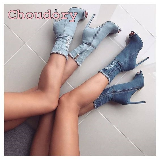 blue denim ankle boots peep toe high heel sandal boots cut outs sandals thin heel short boots hot selling woman shoes boots 2017 fall winter blue denim short sandal boots front back lace up open toe ankle boots brown black high heel high top sandals