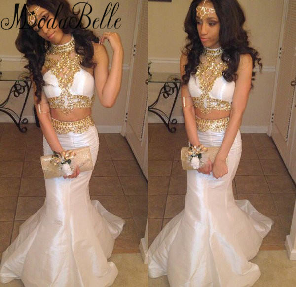 Popular White and Gold Prom Dresses-Buy Cheap White and Gold Prom ...