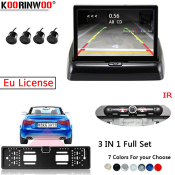 "Koorinwoo  Europe License Plate Frame Rearview Camera Car Parking Sensors Kit 4.3"" Car Foldable Monitor Car Buzzer bib Speaker"