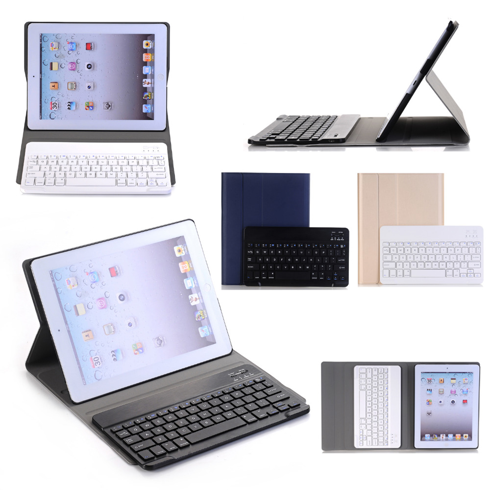 Russian/Hebrew/Spanish Removable Wireless Bluetooth Keyboard Stand PU Leather Case Cover For Apple iPad 2 3 4 9.7 inch Tablet universal removable wireless bluetooth keyboard pu leather case cover stand for 7 8 inch tablet pc with free stylus
