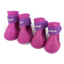 Factory Price 4pcs Pet Dog Shoes Waterproof Rain for Puppy Rubber Boots Candy Color Products 2019
