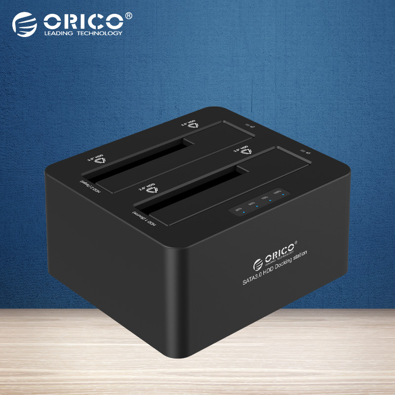 ORICO 6629S3 USB 3.0 to SATA Dual Bay External Hard Drive Docking Station for 2.5/3.5HDD with Duplicator/Clone Function-Black